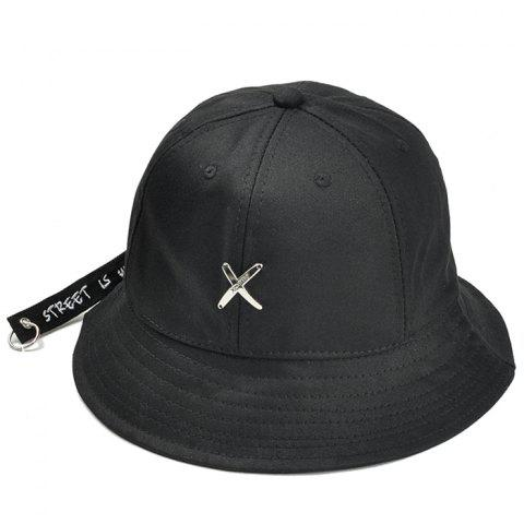 Metal X Pattern Decorated Adjustable Bucket Hat - BLACK
