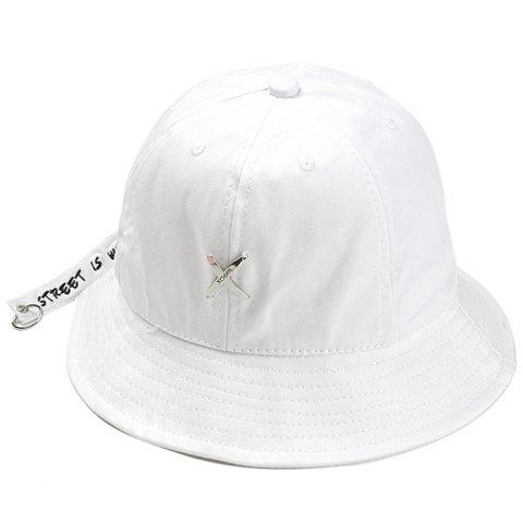 Metal X Pattern Decorated Adjustable Bucket Hat - WHITE