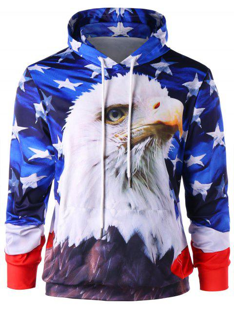 3D Eagle and Star Drawstring Neck Hoodie - BLUE 2XL