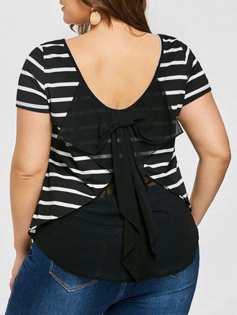 Plus Size Back Bowknot Striped Top - BLACK WHITE 5XL