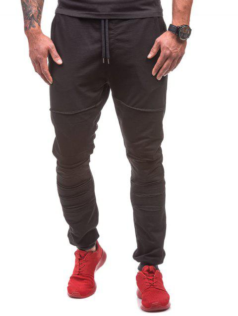 Destroyed Drawstring Waist Jogger Sweatpants - BLACK L