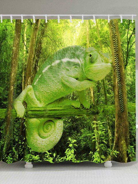 Forest Chameleon Print Polyster Shower Curtain - GREEN W71 INCH * L79 INCH