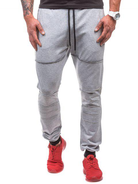 Destroyed Drawstring Waist Jogger Sweatpants - LIGHT GRAY XL