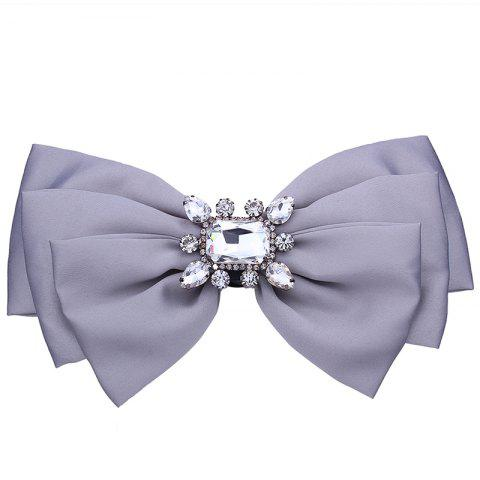 Faux Crystal Embellished Bowknot Fabric Corsage Brooch - GRAY