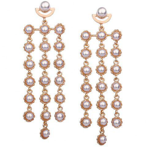 Statement Faux Pearl Layered Earrings - GOLDEN