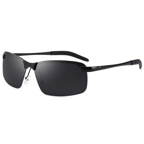 Vintage Rectangular Shaped Frameless Polarized Sunglasses - BRIGHT BLACK/GREY