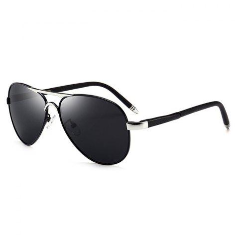 Unique Metal Full Frame Crossbar Pilot Sunglasses - GUN GREY FRAME / GREY LENS