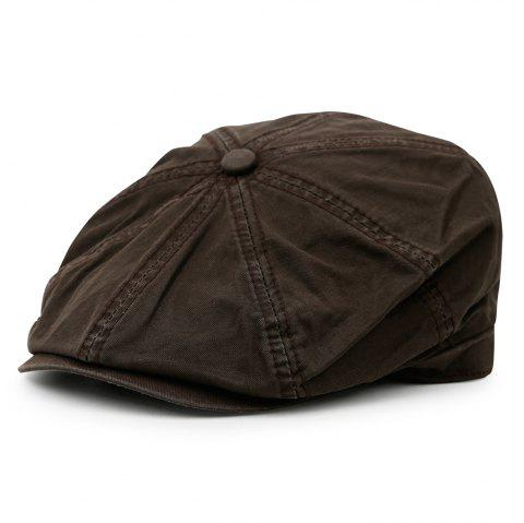 Simple Washed Pattern Embellished Octagonal Hat - CAPPUCCINO