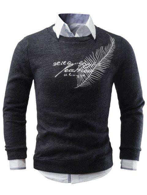 Crew Neck Leaf Embroidery Sweater - BLACK M