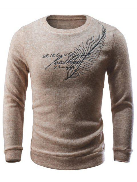Crew Neck Leaf Embroidery Sweater - BEIGE M