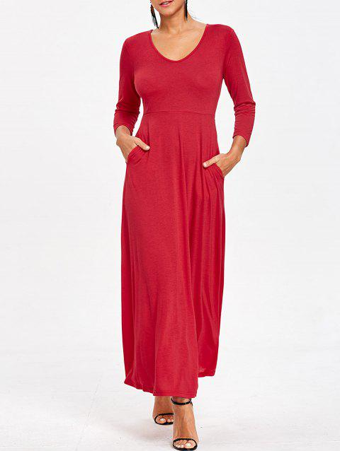 V Neck Empire Waist Maxi Dress - RED L