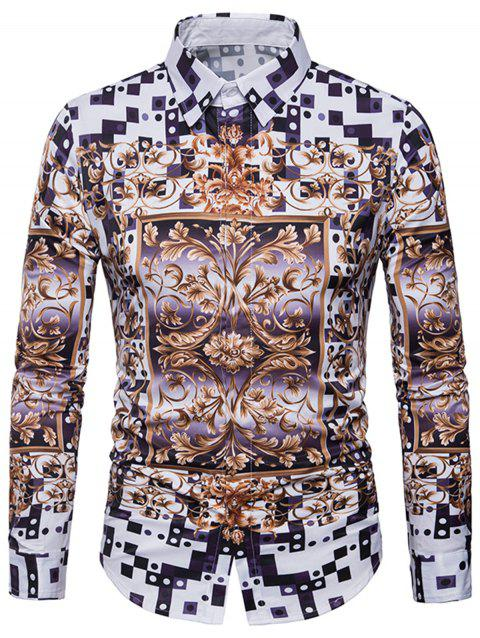 3D Geometric Florals Print Cover Placket Shirt - WHITE L