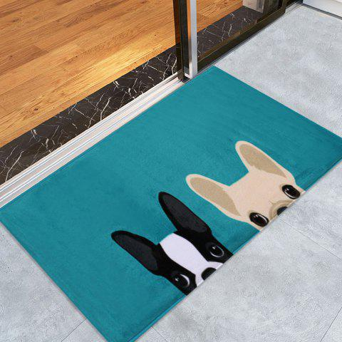 Puppy Head Velvet Indoor Area Rug - LAKE BLUE W24 INCH * L35.5 INCH