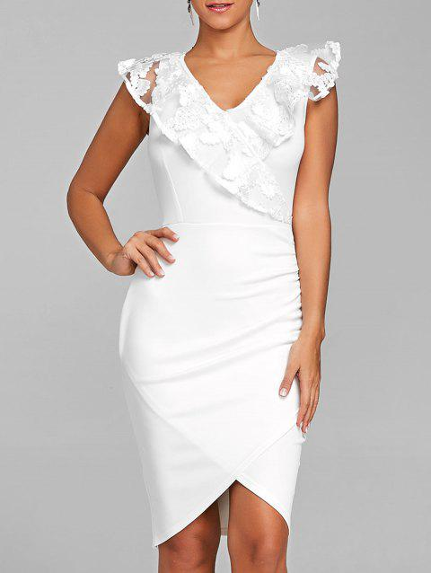 Ruched Lace Trimmed Bodycon Dress - WHITE L