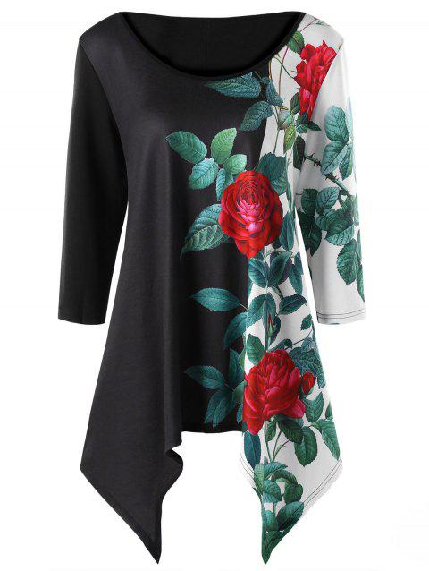 Plus Size Scoop Neck Flower Print Asymmetric Top - BLACK 3XL
