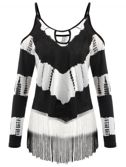 d3835b35361 LIMITED OFFER  2019 Plus Size Tie Dye Fringe Open Shoulde T-shirt In ...