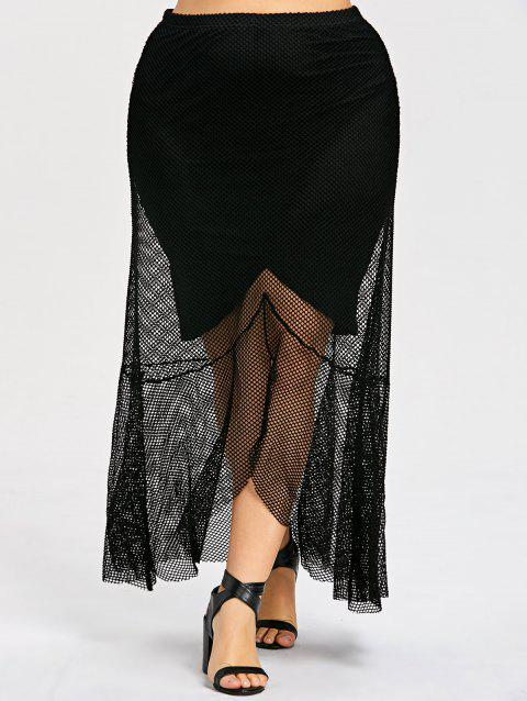 Plus Size Sheer High Low Hem Mesh Skirt - BLACK 4XL