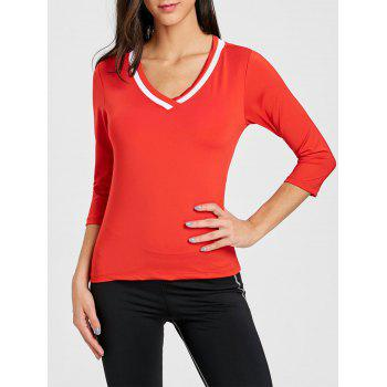 Contrast V Neck Workout T-shirt - RED RED
