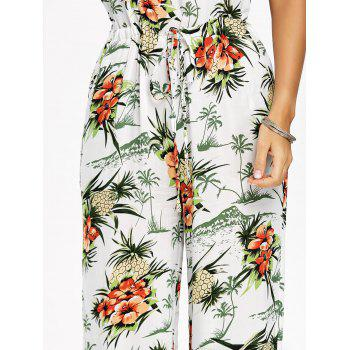 Chiffon Pineapple Printed Wide Leg Jumpsuit - WHITE L