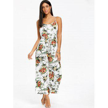 Chiffon Pineapple Printed Wide Leg Jumpsuit - WHITE WHITE