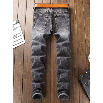 Patch Appliques Bleached Ripped Jeans - GRAY 32