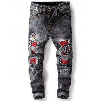 Patch Appliques Bleached Ripped Jeans - GRAY GRAY