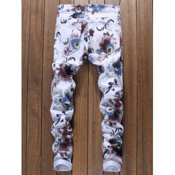 Florals Print Narrow Feet Jeans - WHITE 34