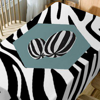 Zebra Print Fabric Waterproof Table Cloth - BLACK WHITE W54 INCH * L54 INCH