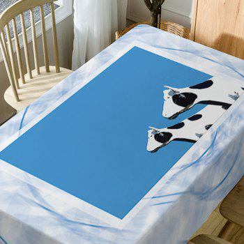 Dairy Cattle Print Waterproof Table Cloth - BLUE W54 INCH * L54 INCH