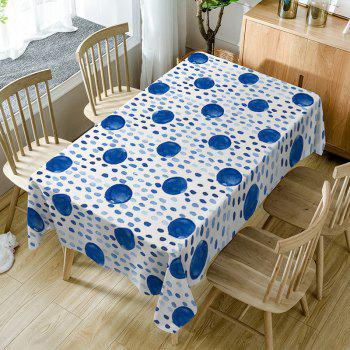 Polka Dot Print Fabric Waterproof Dining Table Cloth - BLUE BLUE