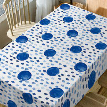 Polka Dot Print Fabric Waterproof Dining Table Cloth - BLUE W60 INCH * L84 INCH