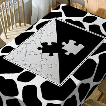 Jigsaw Print Fabric Waterproof Dining Table Cloth - BLACK WHITE W54 INCH * L72 INCH