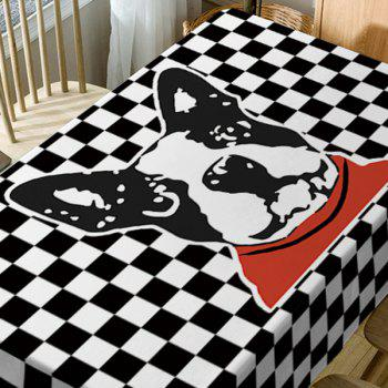 Dog Plaid Print Fabric Waterproof Table Cloth - BLACK WHITE W54 INCH * L72 INCH