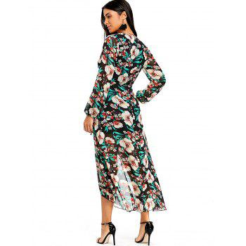 Flower Print Plunging Wrap Tulip Dress - GREEN GREEN