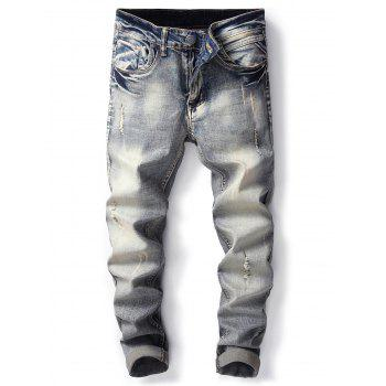 Straight Leg Bleached Effect Ripped Jeans - DENIM BLUE DENIM BLUE