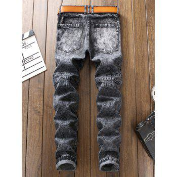 Bleach Wash Straight Leg Biker Jeans - GRAY 36