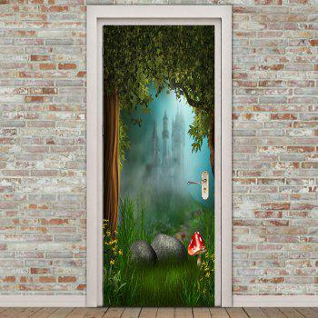 Misty Forest Mushroom Printed Decorative Door Stickers - GREEN 38.5*200CM*2PCS