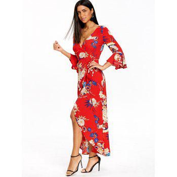 Flower Print Bell Sleeve Asymmetrical Wrap Dress - RED M