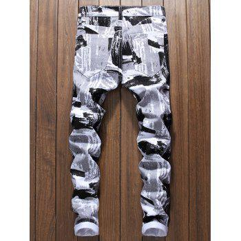 Painting Print Narrow Feet Skinny Jeans - WHITE 38