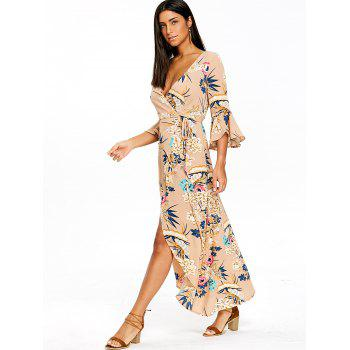 Flower Print Bell Sleeve Asymmetrical Wrap Dress - KHAKI S