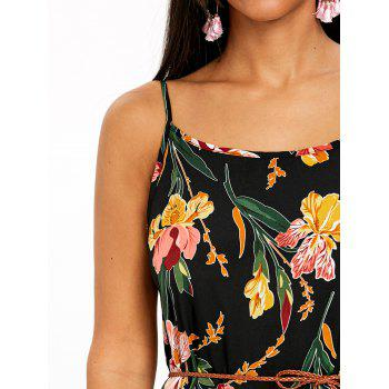 Spaghetti Strap Flower Print Flowy Dress - COLORMIX M