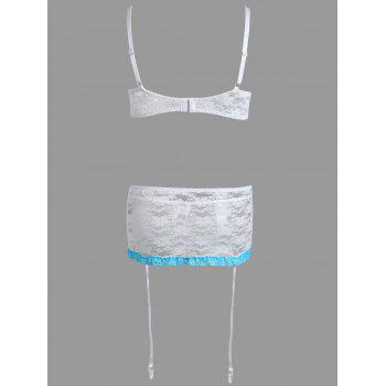 Sheer Lace Lingerie Bra Set - WHITE WHITE
