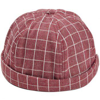 Retro Checked Pattern Embellished Landlord Hat - RED RED
