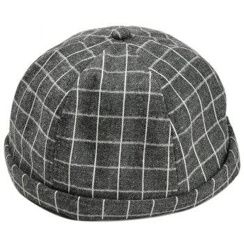 Retro Checked Pattern Embellished Landlord Hat - BLACK BLACK
