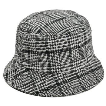 Simple Houndstooth Pattern Decorated Bucket Hat - BLACK BLACK