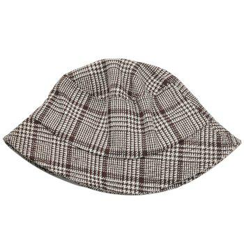 Simple Houndstooth Pattern Decorated Bucket Hat - KHAKI