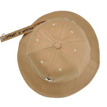 Metal X Pattern Decorated Adjustable Bucket Hat - KHAKI