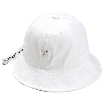 Metal X Pattern Decorated Adjustable Bucket Hat - WHITE WHITE