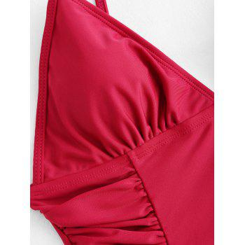 Ruched Spaghetti Strap One Piece Swimsuit - WINE RED WINE RED