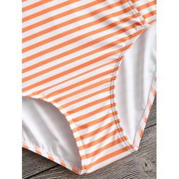 High Neck Criss Cross Back Striped Swimwear - ORANGE M